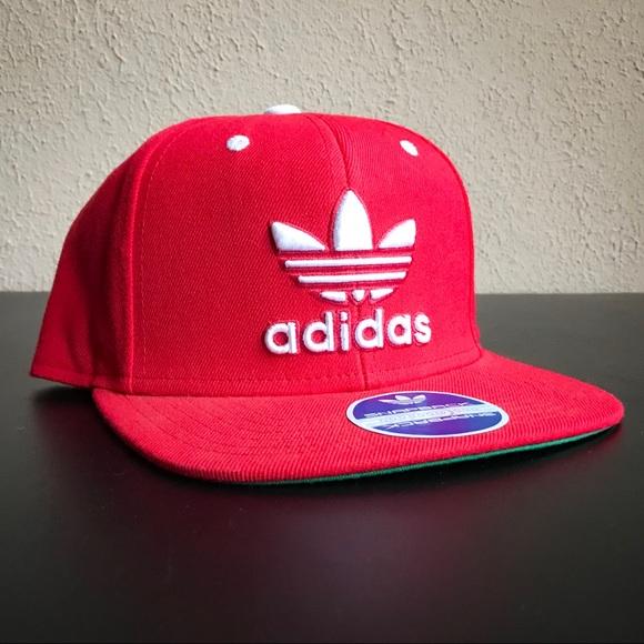 31024acf08c77 Red Adidas Originals Thrasher SnapBack Cap